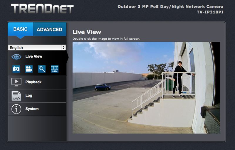 Device web interface for TRENDnet TV-IP310PI camera